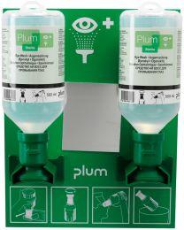Augenspülstation mit zwei Flaschen 500 ml Natriumchloridlösung