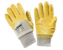 Baumwoll-Arbeitshandschuhe mit gelber Nitril-Beschichtung