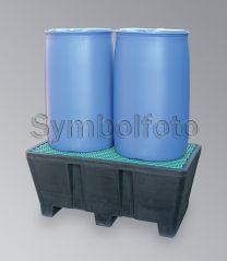 Auffangwanne aus PE mit verz.Gitterrost, für 2x 200-Liter-Fässer